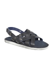 Estd. 1977 Men Navy Handcrafted Strappy Leather Sandals