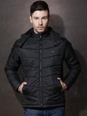 Roadster Black Hooded Puffer Jacket