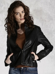 Roadster Black Leather-Look Biker Jacket
