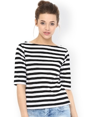 Miss Chase White & Black Striped Top