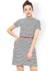 Miss Chase Black & White Striped Belted Dress