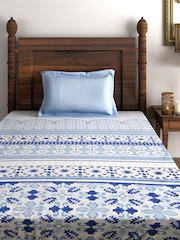 House This Blue & White 210 TC Cotton Single Bedsheet with 1 Pillow Cover
