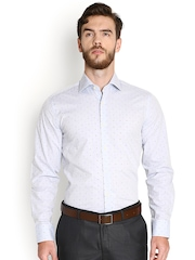 Blackberrys Blue Printed Slim Fit Formal Shirt