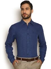 Blackberrys Blue Linen Classic Fit Formal Shirt
