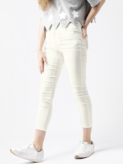 Metersbonwe Off-White High-Rise Cropped Jeans