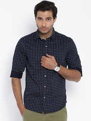 John Players Navy Printed Trim Fit Casual Shirt