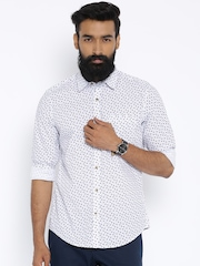 John Players White Printed Trim Fit Casual Shirt