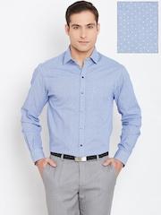 John Players Blue & White Printed Slim Formal Shirt