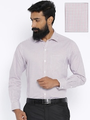 John Players Purple Checked Slim Fit Formal Shirt