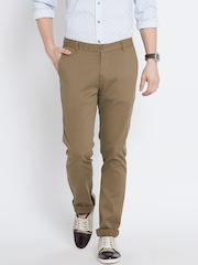 John Players Olive Brown Slim Casual Trousers
