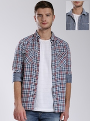 GAS Off-White & Blue Checked Reversible Shirt
