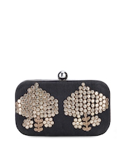 Tarusa Black Sequined Leather Box Clutch