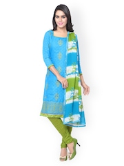 Saree mall Blue & Green Embroidered Unstitched Dress Material