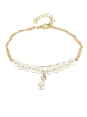 ToniQ Gold-Toned Beaded Anklet
