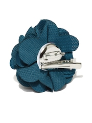 ToniQ Teal Blue Rosette Alligator Hair Clip cum Brooch