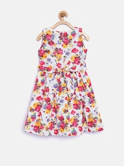Peppermint Girls White Floral Print Fit & Flare Dress