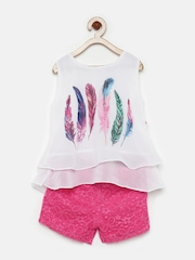 Peppermint Girls White & Pink Printed Clothing Set