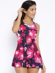 Speedo Black & Pink Printed Swimwear 808876P786