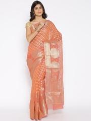 Bunkar Peach-Coloured Cotton Supernet Paisley Patterned Banarasi Saree