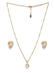 Estelle Gold-Toned Stone-Studded Earrings and Pendant Set