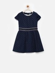 Tommy Hilfiger Girls Navy Printed A-Line Dress