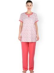 Lazy Dazy Off-White & Pink Printed Maternity Sleepwear