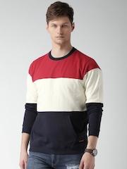 Mast & Harbour Red & Navy Colourblock Sweatshirt