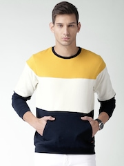 Mast & Harbour Men Yellow & Off-White Colourblocked Pullover Sweatshirt
