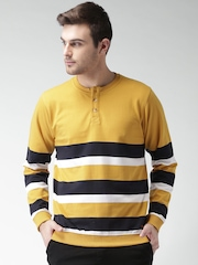 Mast & Harbour Mustard Yellow & Navy Striped Henley Sweatshirt