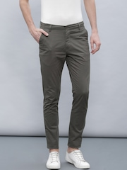ether Men Charcoal Grey Chino Slim Fit Trousers