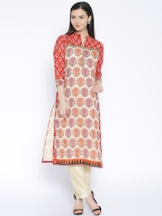 Soch Cream-Coloured & Red Printed Chanderi Kurta with Trousers