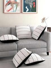 MASPAR Set of 5 White Striped 18'' x 18'' Square Cushion Covers