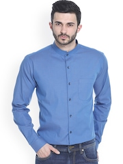 Basics Blue Printed Slim Fit Smart Casual Shirt