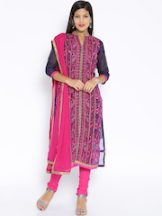 Soch Navy & Pink Embroidered Chanderi Unstitched Dress Material