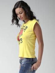 ALCOTT Los Angeles Yellow Tropical Print T-shirt