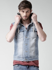ALCOTT Blue Washed Denim Jacket with Detachable Hood