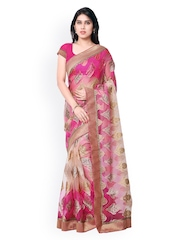 Vishal Prints Pink & Cream-Coloured Chiffon & Brasso Saree