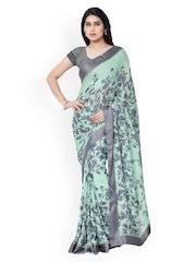Vishal Prints Green & Grey Floral Print Chiffon Saree