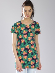 Superdry Navy & Green Orange Label Floral Print T-shirt