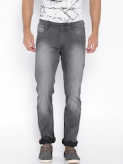 John Players Grey Low-Rise Washed Slim Jeans