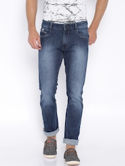 John Players Blue Low-Rise Washed Slim Jeans