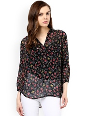 Color Cocktail Black Floral Print Sheer Top