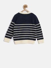 YK Girls Navy & Cream-Coloured Striped Sweater
