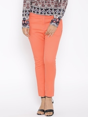 BIBA Coral Orange Casual Trousers