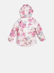 YK Girls Pink Floral Print Puffer Jacket