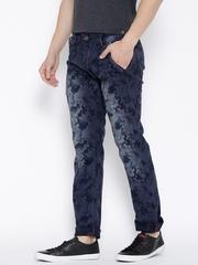 Rodamo Blue Washed Patterned Slim Jeans