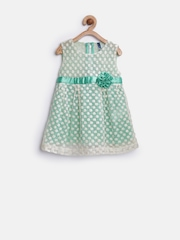 YK Baby Girls Off-White Embroidered Net Fit & Flare Dress