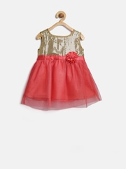 YK Baby Girls Coral Red Sequinned Net Fit & Flare Dress