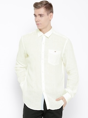 Wills Lifestyle Off-White Linen Slim Fit Casual Shirt