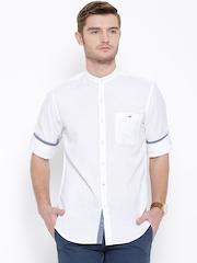 Wills Lifestyle White Linen Blend Slim Casual Shirt
